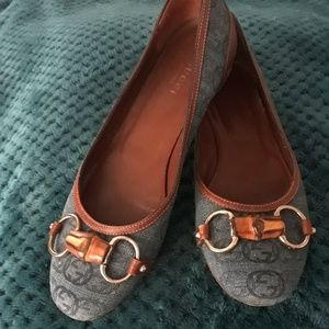 Auth Gucci Monogram Canvas Bamboo Link Flats!